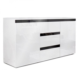 Homelux Sideboard Kommode Anrichte Hochglanzoptik Lackiert Push to Open-Funktion 139 x 35 x 72 cm Schwarz -