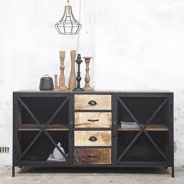industriedesign kommode nori metall holz 2 t ren 4 schubladen sideboard schrank sideboard. Black Bedroom Furniture Sets. Home Design Ideas