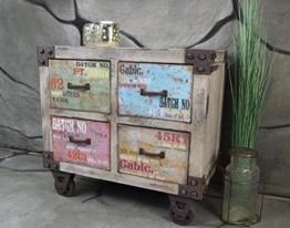 Kommode Schrank 61 x 63 x 35 cm mit 4 Schubladen Vintage Industrie Look LOFT Shabby LV2070 -