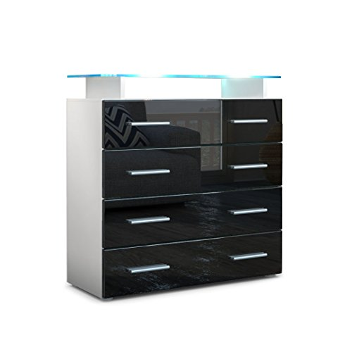 kommode sideboard pavos v2 korpus in wei matt front in schwarz hochglanz sideboard. Black Bedroom Furniture Sets. Home Design Ideas