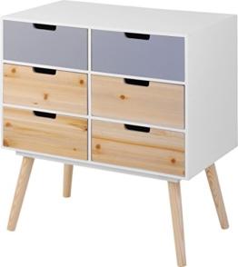 Moderne Holz Kommode im 70er Jahre Retro Design - 6 Schubladen - Beistelltisch Konsolentisch Sideboard -
