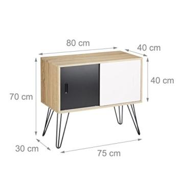 Relaxdays Sideboard Retro 60er Jahre Design Holz Metall Kommode Skandinavisch Hxbxt 70 X 80 X 40 Cm Schwarz Weiss