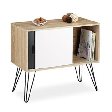 Relaxdays Sideboard Retro, 60er Jahre Design, Holz, Metall, Kommode ...