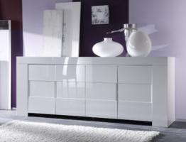 Sideboard Eos 4-türig, 210 x 84 x 50 cm, weiß hochglanz -