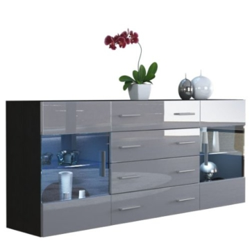 sideboard kommode bari v2 korpus in schwarz matt front in grau hochglanz sideboard. Black Bedroom Furniture Sets. Home Design Ideas