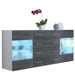 Sideboard Kommode Bari V2, Korpus in Weiß matt / Front in Avola-Anthrazit -