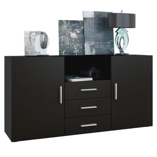 sideboard skadu in schwarz schwarz matt sideboard. Black Bedroom Furniture Sets. Home Design Ideas