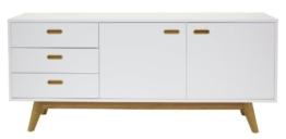 Tenzo 2175-001 Bess - Designer Sideboard, Untergestell Eiche massiv, 72 x 170 x 43 cm, weiß / eiche / lackiert matt -