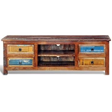 vidaXL Design Antik Teak TV Rack Lowboard Sideboard 4 Schubladen -