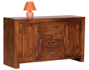 Wohnling Sideboard Massivholz Sheesham Kommode 118 Cm 3 Schubladen 2