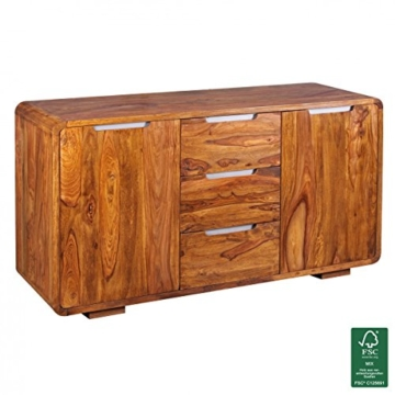 Wohnling Sideboard Massivholz Sheesham Kommode 145 Cm 3 Schubladen 2
