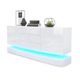 Sideboard Kommode City, Korpus in Weiß matt / Fronten in Weiß Hochglanz inkl. LED Beleuchtung -