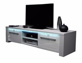 TV Schrank Lowboard Sideboard CONOY mit LED (Weiß Matt / Weiß Hochglanz) -