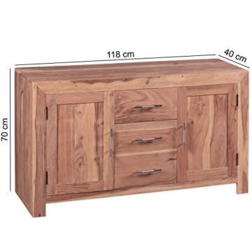WOHNLING Sideboard Massivholz Akazie Kommode 118 cm mit 3 Schubladen und 2 Türen Design Highboard Landhaus-Stil braun Echt-Holz Schubladenkommode Natur-Produkt Flur-Möbel Aufbewahrung Dielen-Möbel - 3