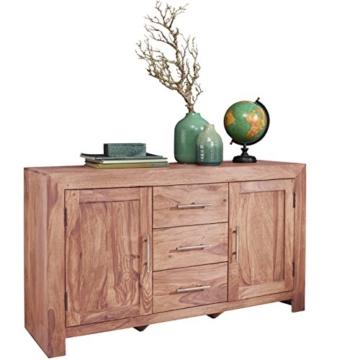 WOHNLING Sideboard Massivholz Akazie Kommode 118 cm mit 3 Schubladen und 2 Türen Design Highboard Landhaus-Stil braun Echt-Holz Schubladenkommode Natur-Produkt Flur-Möbel Aufbewahrung Dielen-Möbel - 1
