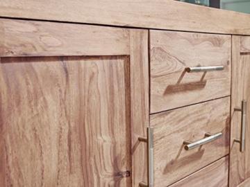 WOHNLING Sideboard Massivholz Akazie Kommode 118 cm mit 3 Schubladen und 2 Türen Design Highboard Landhaus-Stil braun Echt-Holz Schubladenkommode Natur-Produkt Flur-Möbel Aufbewahrung Dielen-Möbel - 5