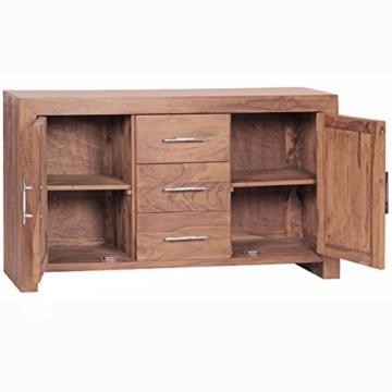 WOHNLING Sideboard Massivholz Akazie Kommode 118 cm mit 3 Schubladen und 2 Türen Design Highboard Landhaus-Stil braun Echt-Holz Schubladenkommode Natur-Produkt Flur-Möbel Aufbewahrung Dielen-Möbel - 6