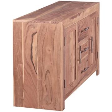 WOHNLING Sideboard Massivholz Akazie Kommode 118 cm mit 3 Schubladen und 2 Türen Design Highboard Landhaus-Stil braun Echt-Holz Schubladenkommode Natur-Produkt Flur-Möbel Aufbewahrung Dielen-Möbel - 7