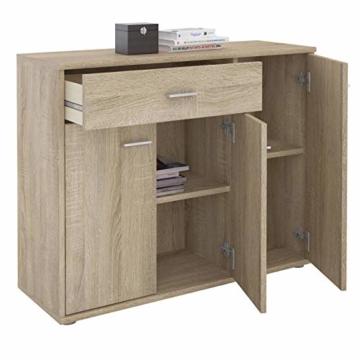 CARO-Möbel Kommode Estelle Sideboard Mehrzweckschrank, Sonoma Eiche mit 3 Türen und 1 Schublade, 88 cm breit - 2