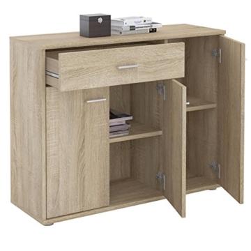 CARO-Möbel Kommode Estelle Sideboard Mehrzweckschrank, Sonoma Eiche mit 3 Türen und 1 Schublade, 88 cm breit - 3