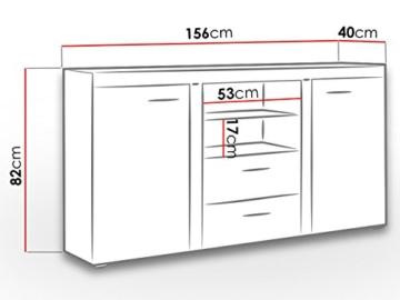 Mirjan24 Kommode Rumba mit Glasboden, Laminatplatte, Sonoma Eiche, 56 x 12 x 87 cm - 4