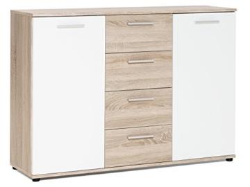 """Sideboard Standschrank Anrichte Beistellschrank Highboard Kommode """"Jacklin I"""" Sonoma-Eiche/Weiß - 1"""