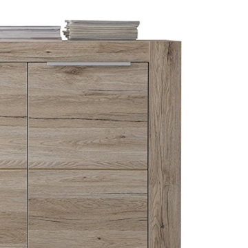 trendteam Wohnzimmer Sideboard Kommode Schrank Cougar, 143 x 84 x 40 cm in Eiche San Remo Hell Dekor mit viel Stauraum - 5