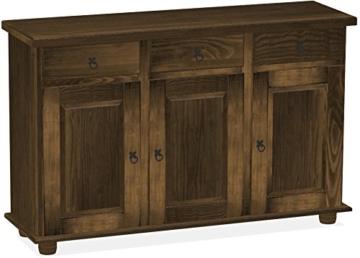 Brasilmöbel Sideboard, Pinie Massivholz, geölt und gewachst Eiche antik, L/B/H: 129 x 40 x 83 cm -