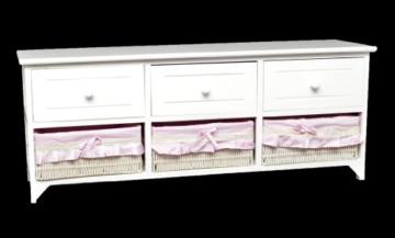 Landhaus Kommode Schrank weiß Sideboard mit 3 Schubladen 3 Körbe Rosa Bezug NEU -