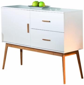 Links 20901700 Kommode Bambus Retro Design Anrichte Wohnzimmer Wohnkommode 1-türig 2 Schubladen -