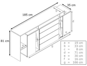 Sideboard Kommode Lissabon V2, Korpus in Weiß matt / Front in Weiß Hochglanz -