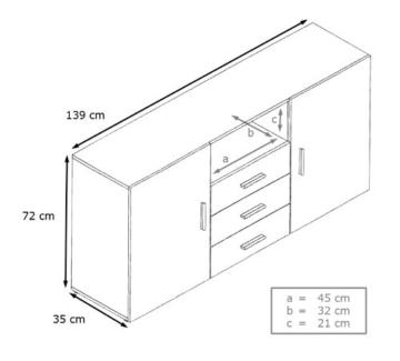 Sideboard Skadu in Schwarz / Schwarz matt -