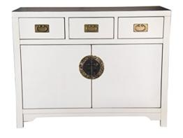 """SIT-Möbel 1809-10 Kommode """"Chinese"""", 110 x 42 x 85 cm, im Stil der Ming Dynastie, Pappel weiß lackiert -"""