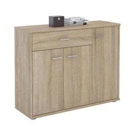 CARO-Möbel Kommode Estelle Sideboard Mehrzweckschrank, Sonoma Eiche mit 3 Türen und 1 Schublade, 88 cm breit - 1