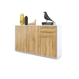 Vladon Kommode Sideboard Ben V3, Korpus in Weiß Matt/Fronten in Eiche Nature - 1