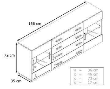 Vladon Sideboard Kommode Bari V2 in Weiß/Eiche sägerau - 3