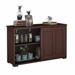 COSTWAY Sideboard Küchenschrank Badkommode Wohnzimmerregel Beistellschrank Anrichte Mehrzweckschrank mit Schiebetüren Braun - 1